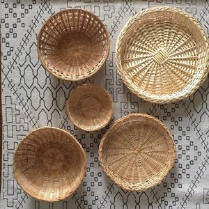 Collection lot of 5 baskets great for wall hanging